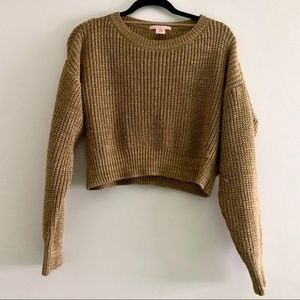 Urban Outfitters crop knit sweater tan